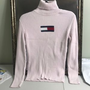 Tommy Hilfiger pink turtle neck sweater flag logo